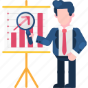business, evaluation, finance, investigation, magnifying glass, research, survey icon