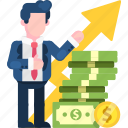 currency, enhancement, exchange, growth, profit, rate, success icon