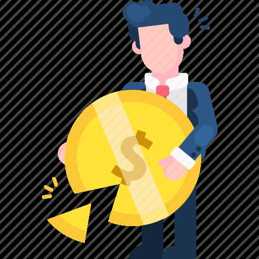 bankrupt, business, damage, finance, incur losses, loss, money icon