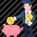 asset, bank, investation, money, pig, saving, stock icon