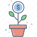 business, business growth, dollar, finance, grow money, investment, money plant icon