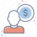 business, earnings, finance, gain, money, person, salary icon