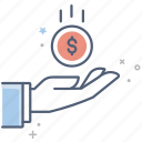 business, dollar, dollars, finance, hand, money icon