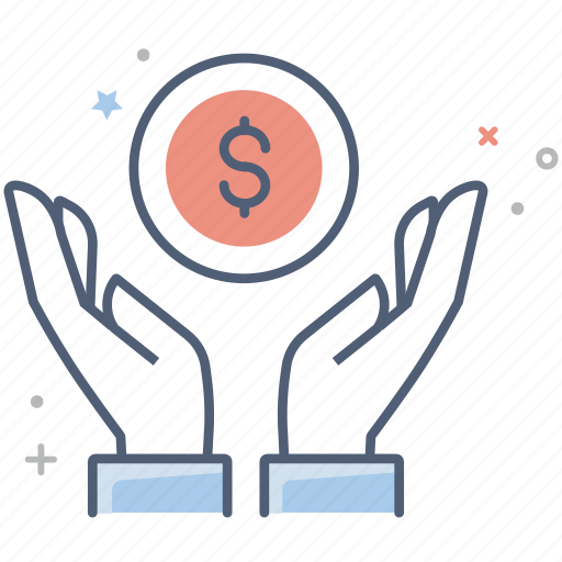 business, charity, dollar, donation, finance, hand, money icon