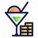 alcohol, beverage, celebration, cocktail, coins, drink, party icon