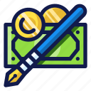 business, coin, finance, financial, money, payment, pen icon