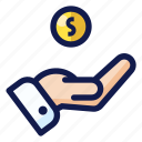 bank, business, coin, finance, hand, money, payment icon