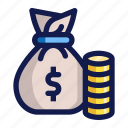 bag, bank, business, coins, finance, money, payment icon