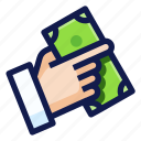 banking, business, finance, financial, hand, money, payment icon