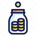 banking, coin, coins, finance, jar, money, tip icon