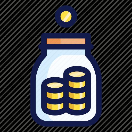 banking, coin, coins, finance, jar, money, tip icon
