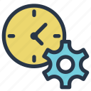 business, clock, finance, gear, management, time icon