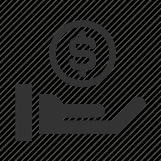 business, coin, dollar, finance, hand, money, saving icon