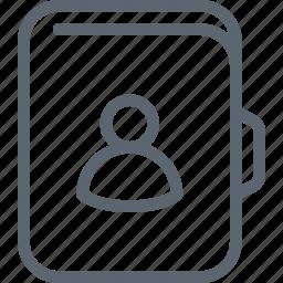 adress, agenda, book, contact, friend, person, user icon