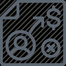 business, goal, marketing, money, person, plan, sheet icon