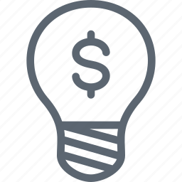 bulb, dolar, idea, light, money icon