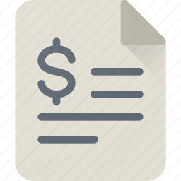 bill, certificate, contract, dollar, file, invoice, money icon