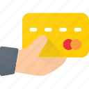 bank, card, credit, debit, hand, hold, payment icon
