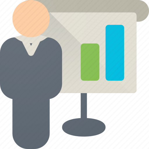 board, bosinessman, business, chart, person, presentation, screen icon
