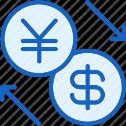 business, dollar, exchange, finance, yen icon