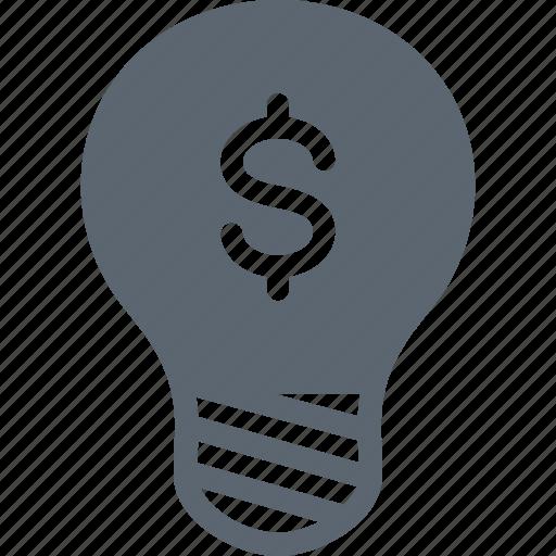 bulb, dollar, financial, idea, light, money icon