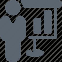 board, business, businessman, diagram, graph, presentation, report icon