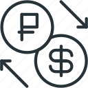 business, dollar, exchange, finance, ruble icon