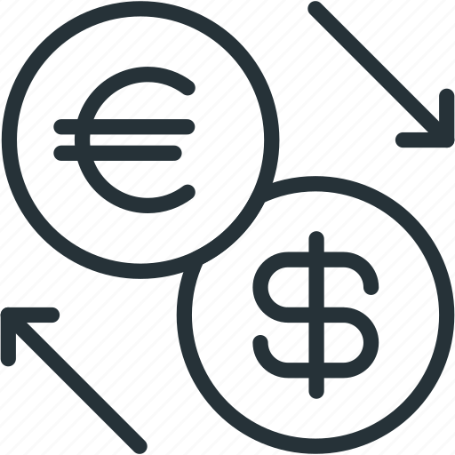 business, dollar, euro, exchange, finance icon