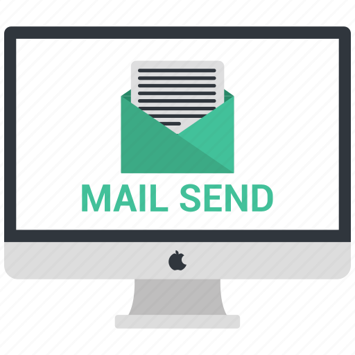 computer, display, mail send, monitor, open mail, screen icon