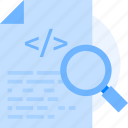 coding, document, file, magnifier, programming, script, test script icon icon