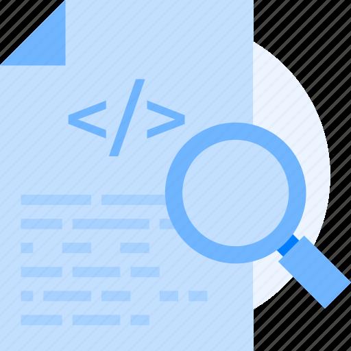 coding, document, file, magnifier, programming, script, test script icon icon