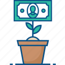 business, cash, finance, grow, growth, money, plant, rise icon icon