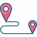 gps, location, map, marker, navigation, route icon icon