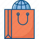 online shopping, shopping bag, world shopping icon icon