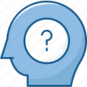 ask, head, mind, question mark, thinking icon icon