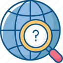 find, global searching, globe, magnifier, search, world icon icon