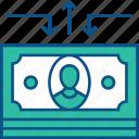 banknote, cash flow, dollar, money, money flow icon icon