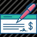 banking, cheque, finance, money icon icon