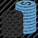 coins, dollar, finance icon