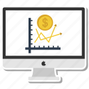 apple, chart, coin, dollar, growth, monitor, pie icon