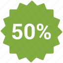 accounts, discount 50, label, promotion, sale icon