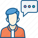 account, bubble, chat, chat bubble, feaback, message, talk, user icon icon