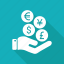 coin, euro, hand, money, pay icon
