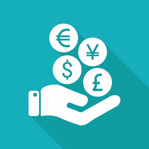 coin, euro, hand, money, pay icon