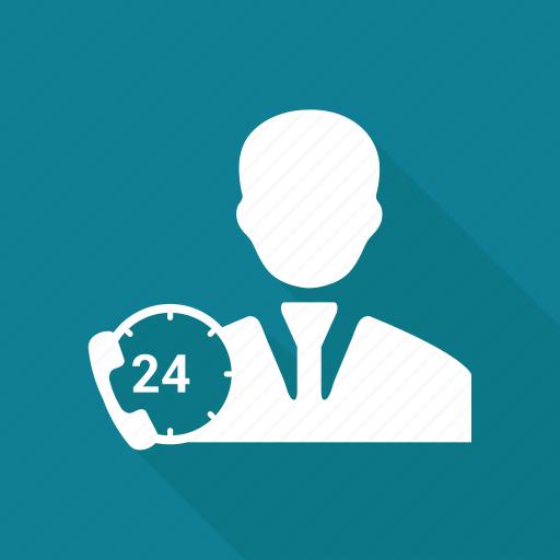avatar, call, clock, male, man, person, user icon