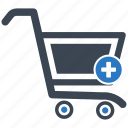 bag, cart, pluse, shop, shopping cart icon