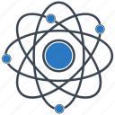 atom, electron, nucleus, proton, science icon