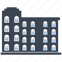 building, city, hotel, office, school icon