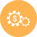 configuration, currency, finance, gear, money, rupee, setting icon