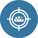 arrow, goal, office work, profile, target, team work icon